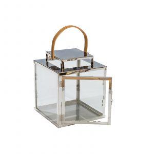 Farol de vidrio con Manija en cuero